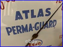 Vintage Esso Anti Freeze Thermometer Atlas Gas Oil Sign Perma Guard Garage Bar