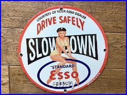 Vintage Esso Gasoline Heavy Porcelain Gas & Oil Sign 12