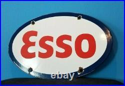 Vintage Esso Gasoline Porcelain Gas Service Station Pump Plate Ad Metal Sign