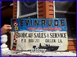 Vintage Evinrude Outboard Boat Motor Metal Sign Cullen LA Gasoline Oil Fishing