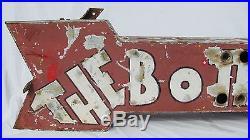 Vintage Ex Neon Tin Arrow Sign The Bottling Works