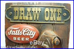 Vintage FALLS CITY BEER Advertising Store Display Sign Pistol Holster 3d HtF