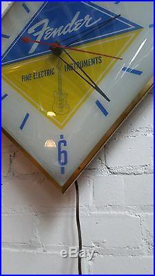 Vintage Fender Guitar Pam Illuminted Dealer Clock Lighted Sign