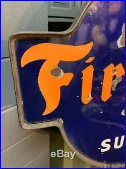 Vintage Firestone Tires And Auto Supplies Porcelain Lollipop Sign Gas Oil Nice