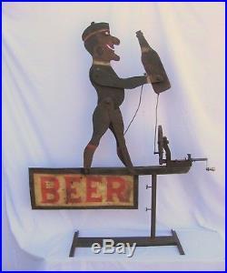 Vintage Folk Art Beer Whirligig Advertising Sign Weather Vane Shipping Available
