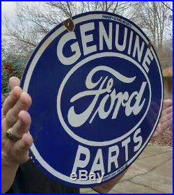 Vintage Ford Genuine Parts Porcelain Sign Double Sided Chicago