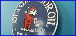 Vintage Ford Motor Co Porcelain Atlantic Gasoline Parrot Motor Oil Service Sign