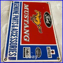 Vintage Ford Mustang Porcelain Sign, Dealership, Motor Oil, Gasoline, Route 66