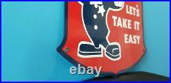 Vintage Ford Policeman Let's Take It Easy Metal Porcelain Auto Service Pump Sign