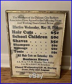 Vintage Framed 1940s Barber Shop Price List Sign