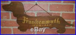Vintage Frankenmuth Beer Ale Advertising Sign Wooden Dachshund Dog Frankie