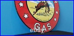 Vintage Frontier Gasoline Porcelain Gas Service Cowboy Western Pump Plate Sign
