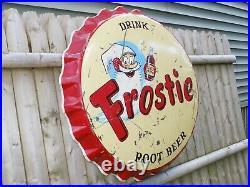 Vintage Frostie Bottle Cap 3 Foot Metal Sign