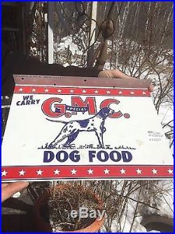 Vintage GMC Dog Food Metal Flange Sign With Gr8 Springer Dog Pet Graphic Man Cave