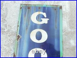 Vintage GOODRICH TIRES Porcelain GAS & OIL Vertical Advertising SIGN