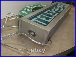 Vintage Green Glass Telephone Booth Lighted Sign