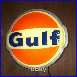 Vintage Gulf Gas Lighted Sign. 22 in. Nice