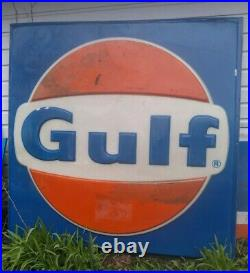 Vintage Gulf Gas Station 5ft x 5ft Plastic Advertising Sign Roadside Display