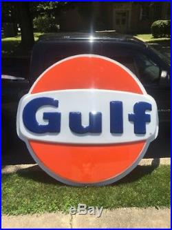 Vintage Gulf Gas Station Plastic Advertising Sign Large 6 Ft