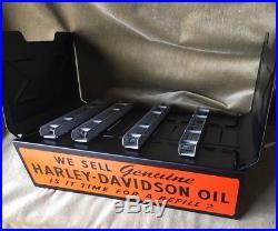 Vintage HARLEY-DAVIDSON Counter Display Parts Catalog Rack Oil Sign Advertising