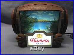 Vintage Hamm's Beer Barrel Rotating Advertising Rotating Sign 8 Scenes