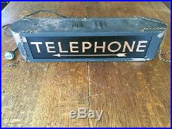 Vintage Hanging Telephone Booth Lighted Sign 21