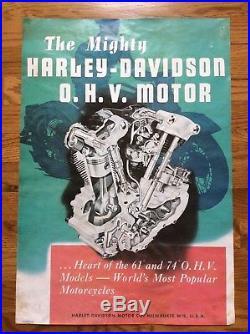 Vintage Harley Davidson Advertising Poster Sign Knucklehead OHV