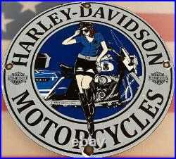 Vintage Harley Davidson Motorcycles Porcelain Sign Gas Station Pump Plate Oil