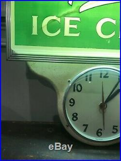 Vintage Hendries Ice Cream Lighted Sign Clock. Original Rare