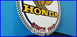 Vintage Honda Automobiles Dealer Porcelain Gas Motorcycles Service Sales Sign