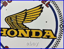 Vintage Honda Motorcycles Porcelain Sign Harley Davidson Indian