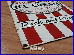 Vintage Ice Cream Sign Red Rose Heavy Porcelain Murfreesboro, Tennessee, USA