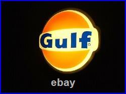 Vintage Illuminated Lighted 1 Sided Gulf Dealer Sign Aluminum Frame Wall Mount