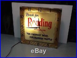 Vintage Illuminated Reading Premium Beer Clock Advertising Sign Breweriana