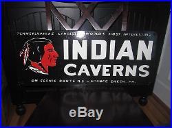 Vintage Indian Caverns Porcelain Sign