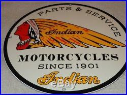 Vintage Indian Motorcycle Parts Service 11 3/4 Porcelain Metal Gas & Oil Sign