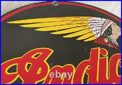 Vintage Indian Motorcycle Porcelain Sign Gas Chief Biker America Harley Davidson