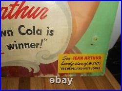 Vintage JEAN ARTHUR DRINK ROYAL CROWN RC COLA CARDBOARD ADVERTISING SODA SIGN