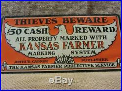 Vintage Kansas Cappers Farm Sign Farming Farmer Antique Old Signs Warning 9964