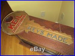Vintage Keil Charlstowne N. H, Advertising Keys Made Key Shaped Sign
