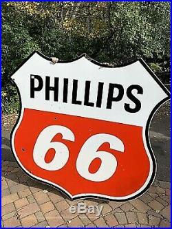 Vintage LG 6Ft 1960 Porcelain Phillips 66 Oil Gas Gasoline Sign Service Station