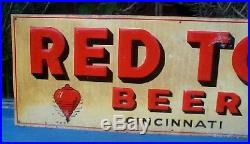 Vintage Large 28x10 Red Top Beer Brewing Sign Cincinnati OH Spinner Top Graphics