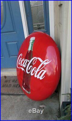 Vintage Large 36 inch Porcelain Coke Coca Cola Button Bottle Sign SO CLEAN