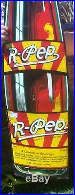 Vintage Large 48X12 R-Pep Bottle Shape Soda Pop Metal Sign Nice 1