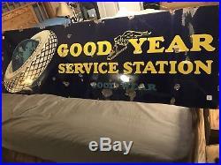 Vintage Large Good Year Service Station Porcelain Oil & Gas Transportation Sign