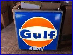 Vintage Large Gulf oil gas station sign light up antique vintage working