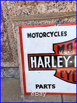 Vintage Large Harley Davidson Motorcycle Porcelain Dealer Advertising Sign 20