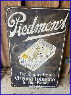 Vintage Large Porcelain Piedmont Tobacco Sign Measures 46 X 30
