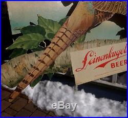 Vintage Leinenkugel Beer Brewery Flying Pheasant Wildlife Sign Chippewa Falls WI