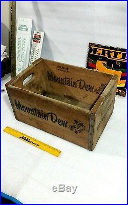 Vintage MOUNTAIN DEW wooden crate soda pop beverage advertising sign display